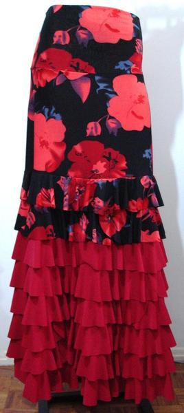 SOLD OUT_Skirt Bromélia 020 Red and Large Flowers - U$130.00