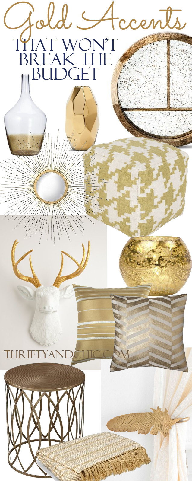 Thrifty and chic diy projects and home decor for Gold home decorations