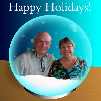 couple in a photoshop snow globe