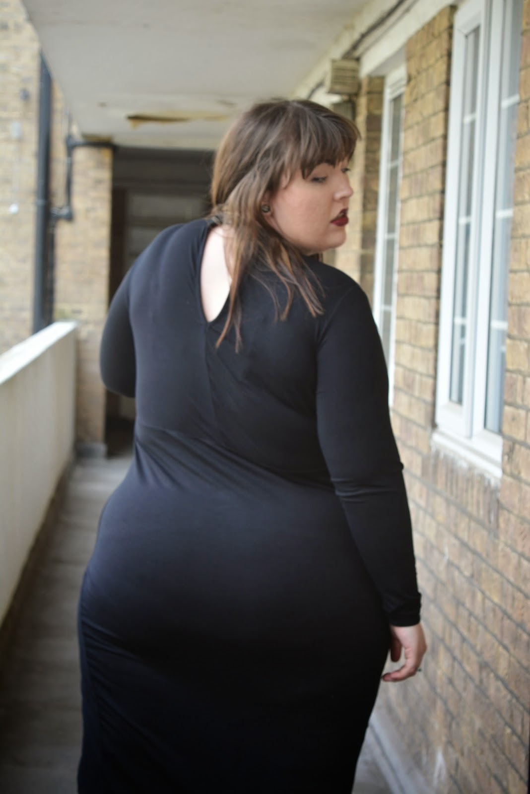 ASOS CURVE High Neck Bodycon Dress with Asymmetric Hem