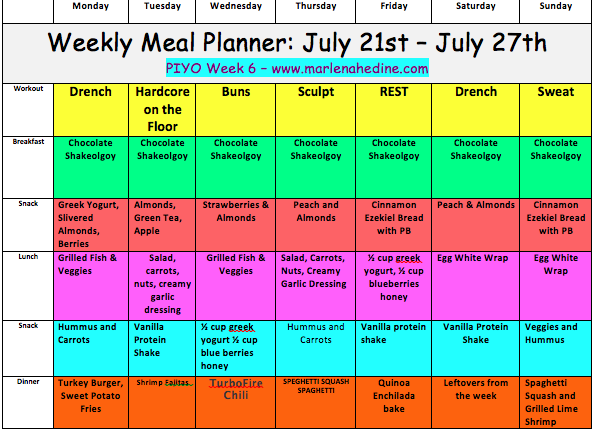 Piyo Meal Plan and Progress Update