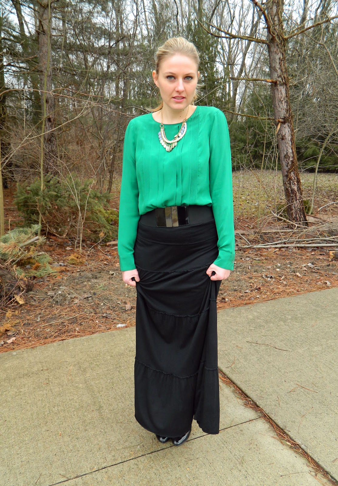 emerald green blouse & maxi skirt