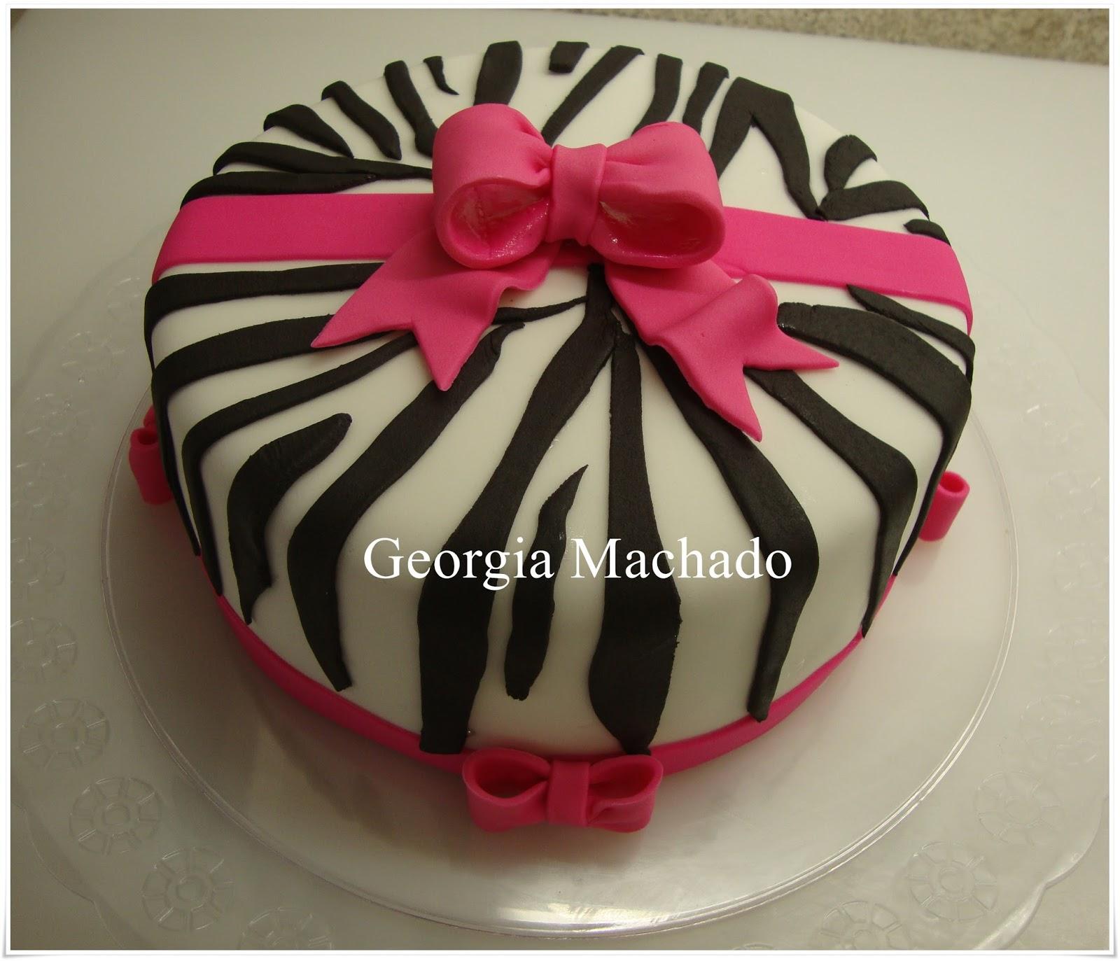 Muitas vezes Georgia Machado: Bolo de Zebra com laço rosa HR05