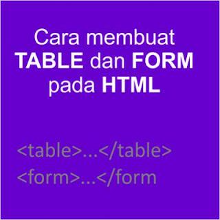 cara membuat tabel dan form di html