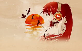Anime Girl Headphone Birds HD Love Wallpaper