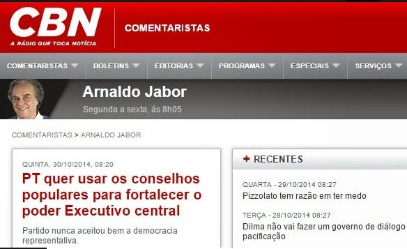 PT quer usar os conselhos populares para fortalecer o poder Executivo central - diz Arnaldo Jabor ouça