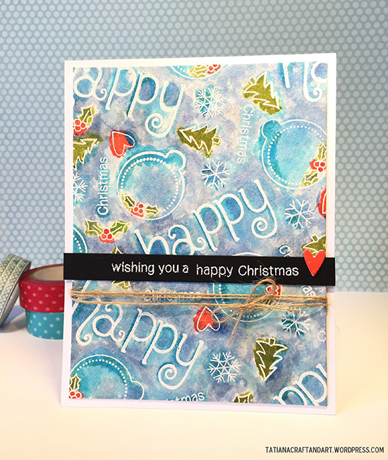 Watercolor Christmas Card by Tatiana | Simply Seasonal Stamp set by Newton's Nook Designs #newtonsnook
