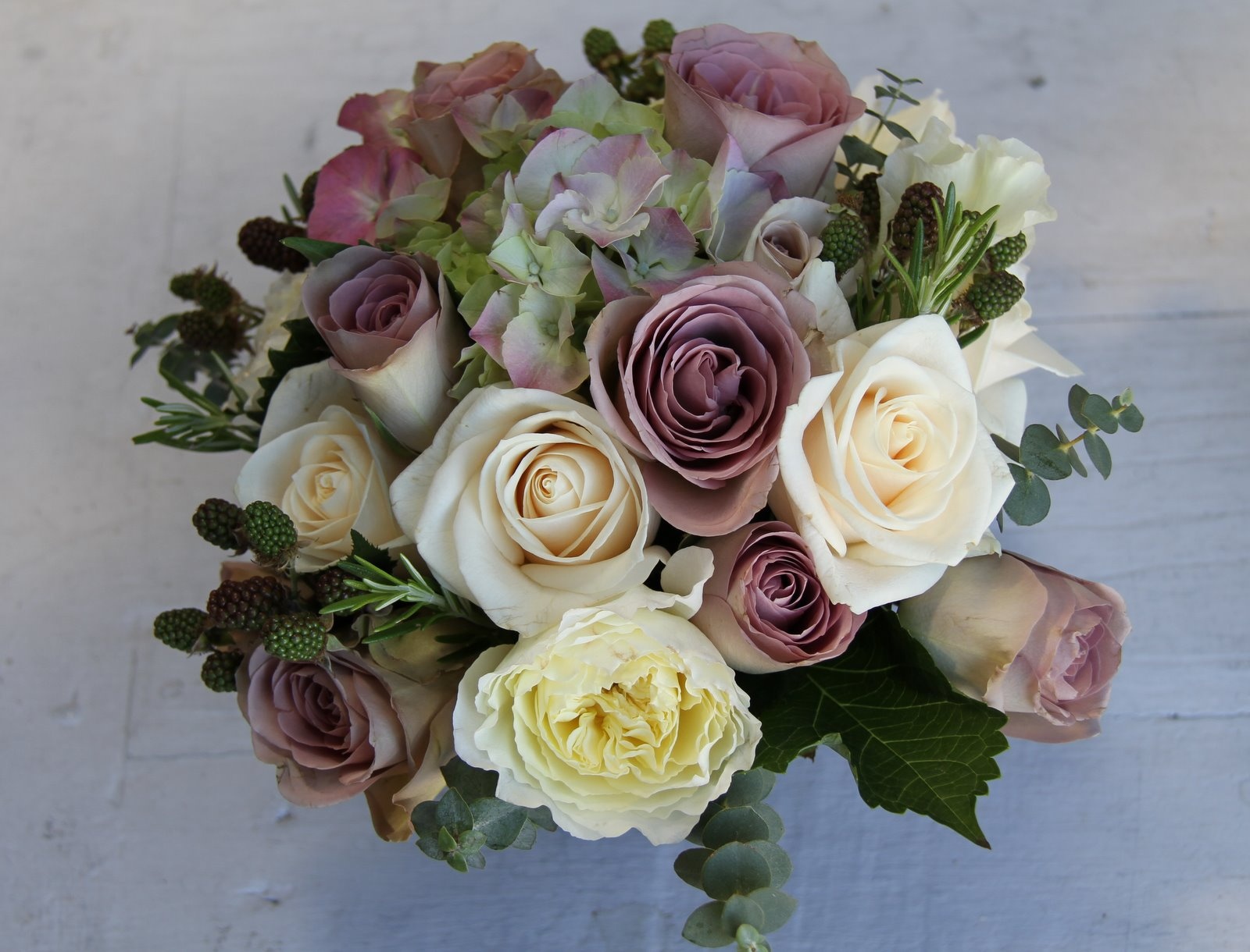 The Flower Magician Amnesia Amp Cream Wedding Bouquet With Blackberries Amp Rosemary