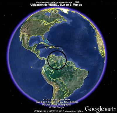 Ubicación de VENEZUELA en El Mundo, Google Earth