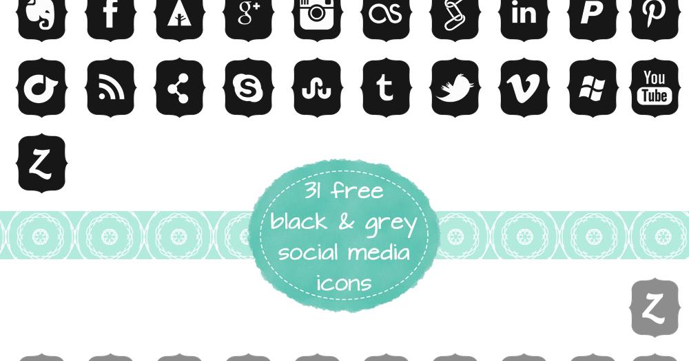 Freebie Fridays #9 - Black & Grey Social Media Icons | The Dutch Lady Designs