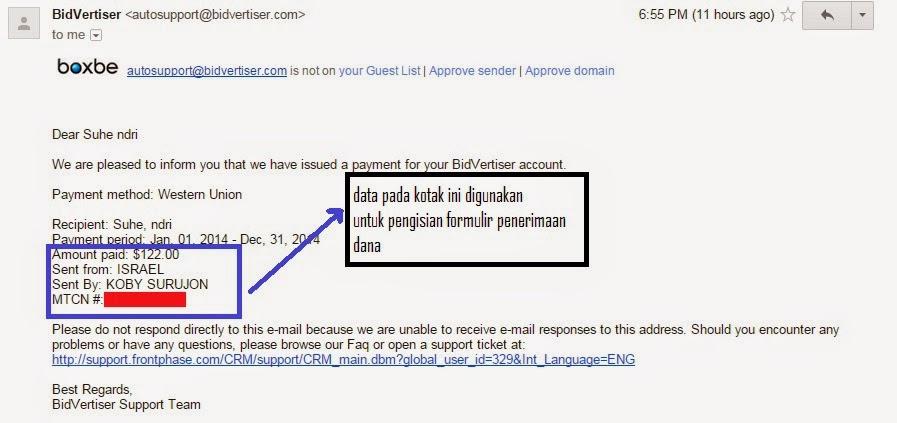 Bukti Pembayaran Bidvertiser - Konfirmasi Via Email