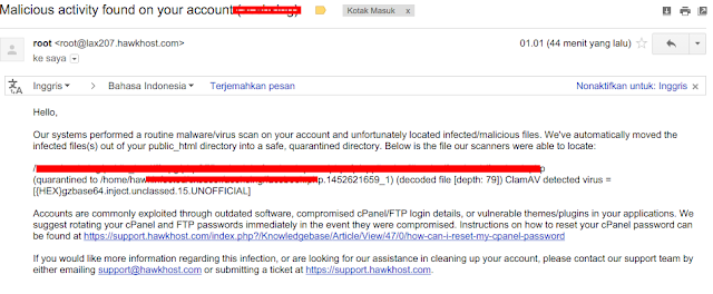 Malicious Activity On Your Account HOSTING