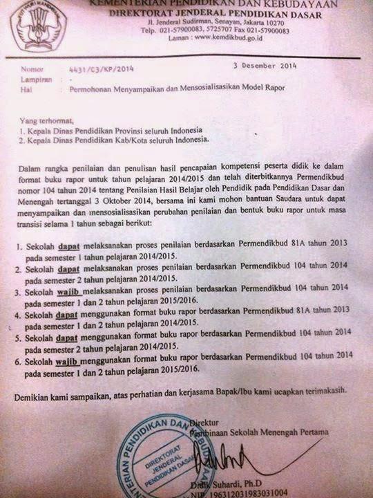 Peraturan Model Buku Raport dan Penilaian Kurikulum 2013