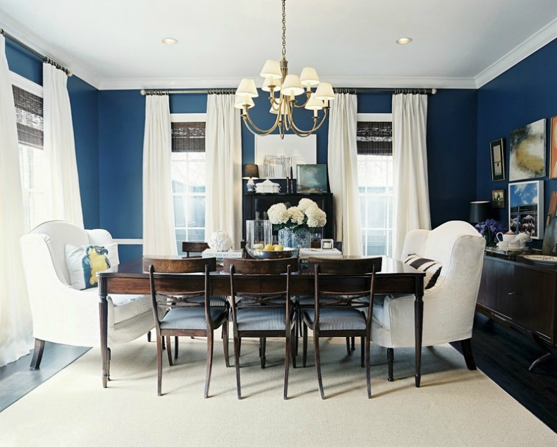 navy and white coastal dining room