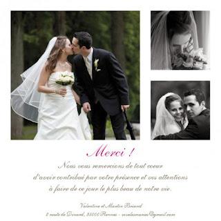 Exemple de carte de remerciement mariage