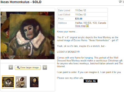 Kijiji Halifax ad for a painting of the Ikea Monkey in the style of the Jesus Fresco