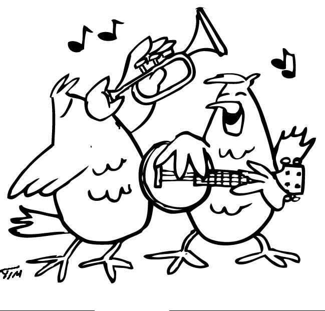 Gallinas cantando para colorear