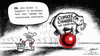 Cartoon: Australian Prime minister ignoring heatwave and US-China Climate deal at G20 meeting