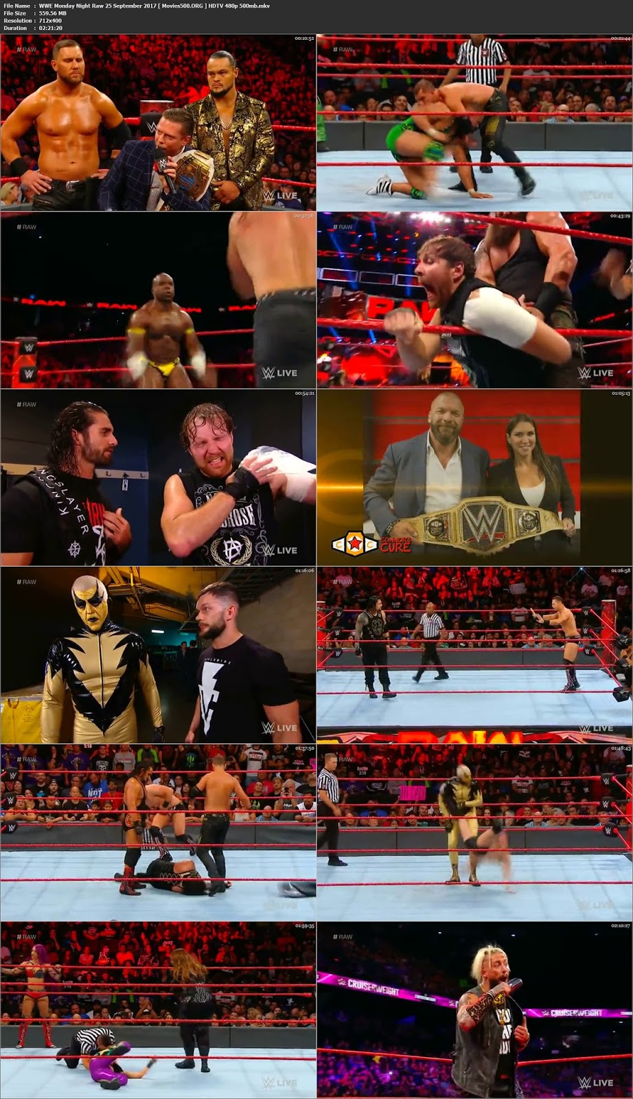 WWE Monday Night Raw 25 September 2017 Full Show Download HDTV 480p at freedomcopy.com