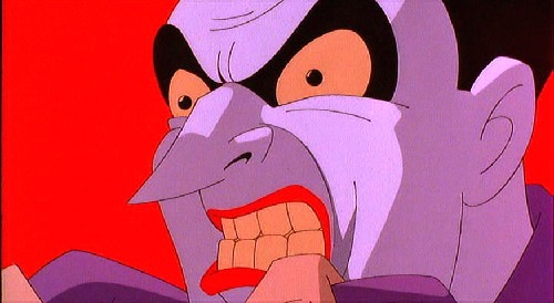 Joker gritting his teeth in Batman: Mask of the Phantasm 1993 animatedfilmreviews.blogspot.com