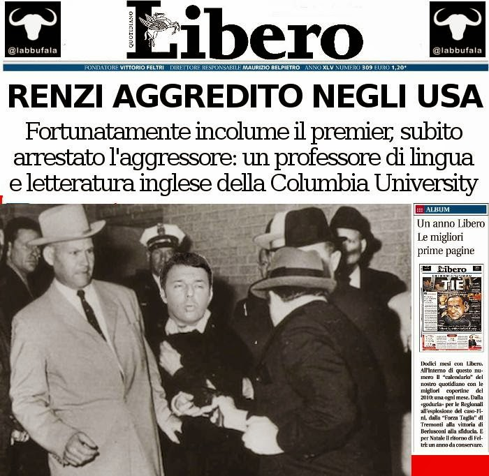 Renzi, Usa, inglese, satira