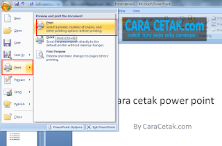 cara cetak power point