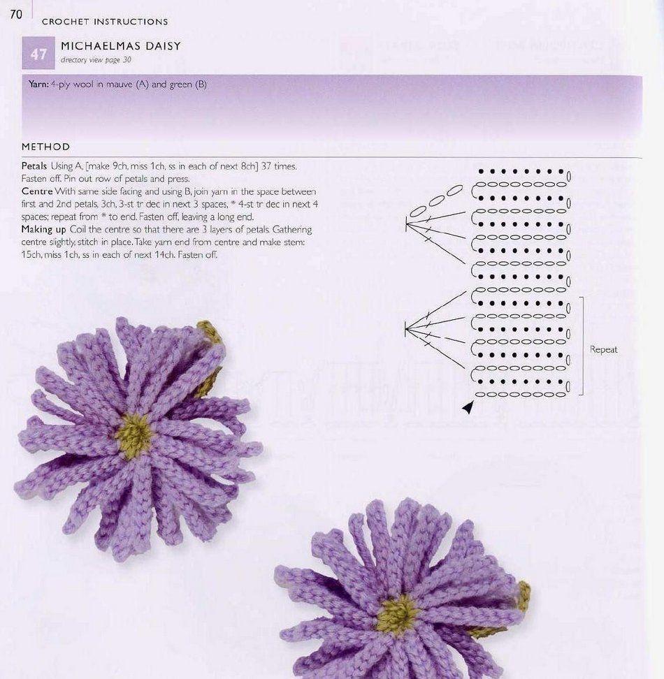 Схемы с картинками вязания цветов крючком