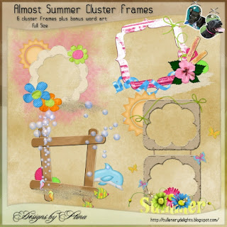 "Free scrapbook frames ""It's almost summer"" from Designs by Stina"