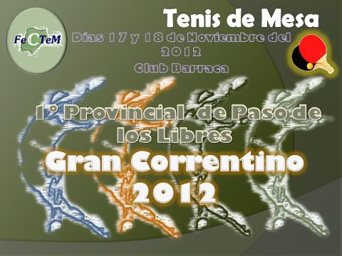 Torneo Provincial 2012 en Paso de los libres los dias 17 y 18 de Noviembre en las Instalaciones del