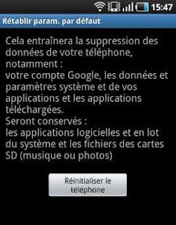 paramètres par défaut d'un Samsung Galaxy S via le menu RECOVERY