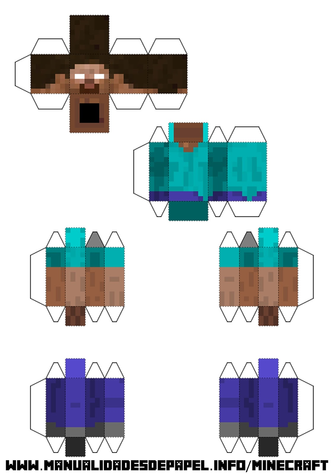personajes y animales minecraft papercraft