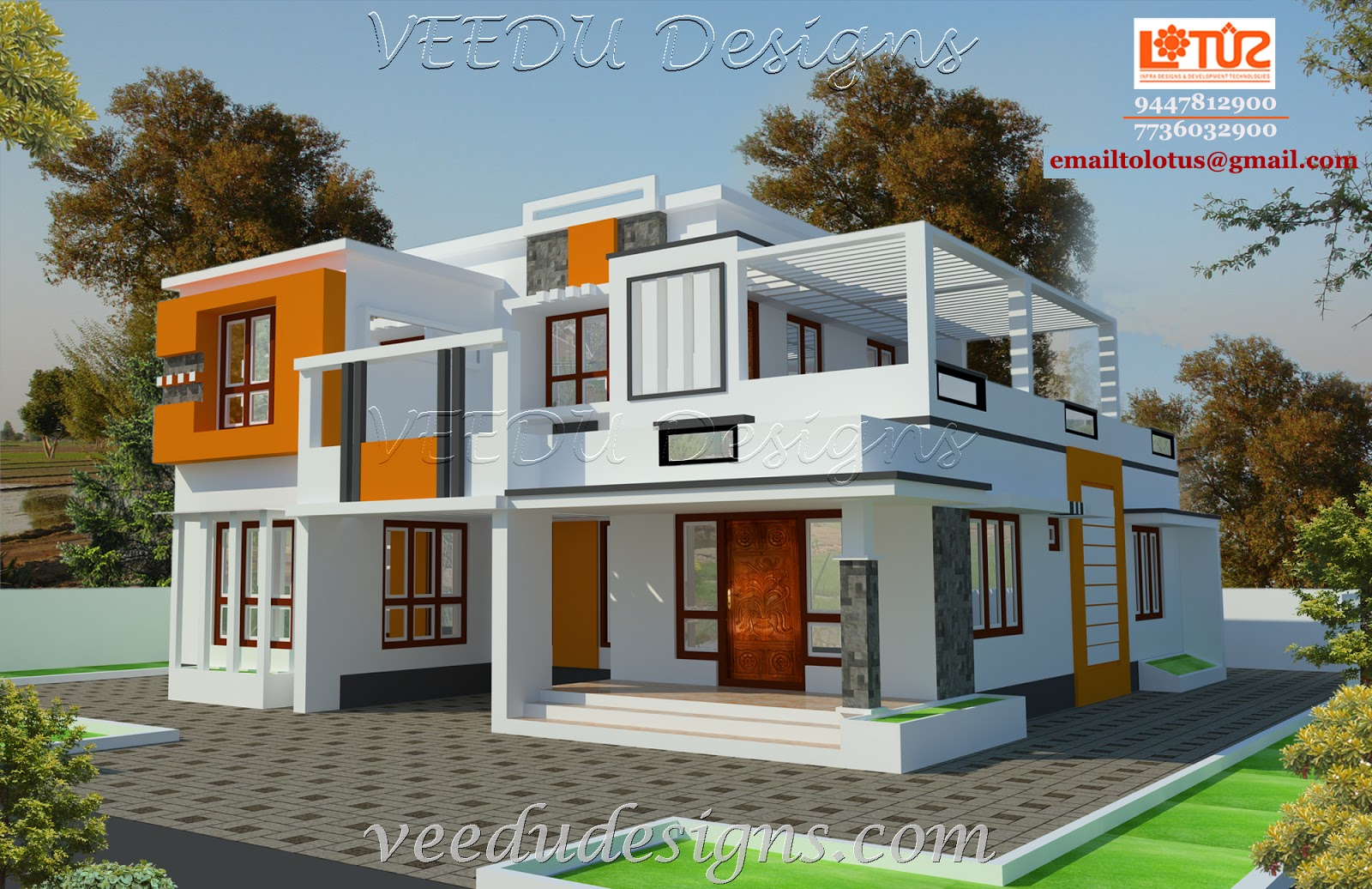 Kerala home designs for Veedu elevation