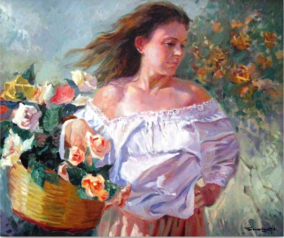 mujeres-con-flores-al-oleo