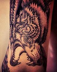 Desenho de lobo tatuado no braço