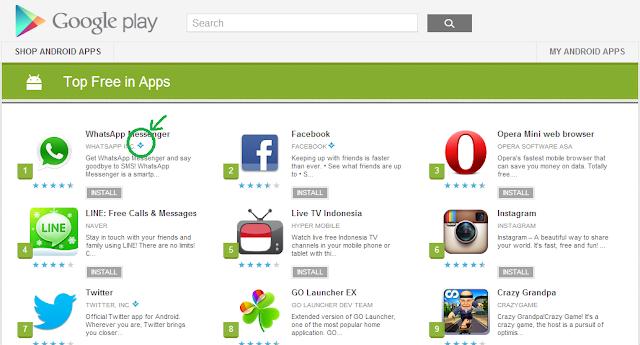 Tanda pada lingkaran warna hijau menandakan Top Developer, Aplikasi terpercaya