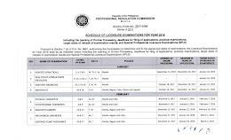 2018 PRC Examinations Schedule