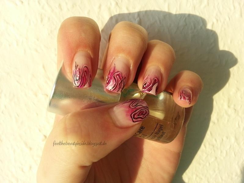 feel the beauty inside nageldesign 06 14 glitzer pink rosa mit schwarz wei swirl. Black Bedroom Furniture Sets. Home Design Ideas