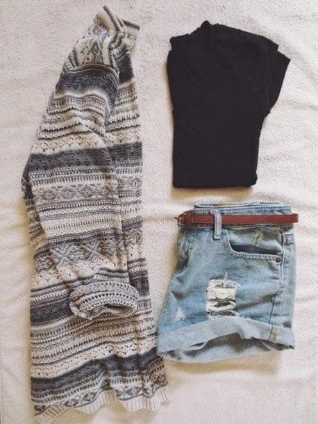 Amazing sweater, black blouse and shorts combination