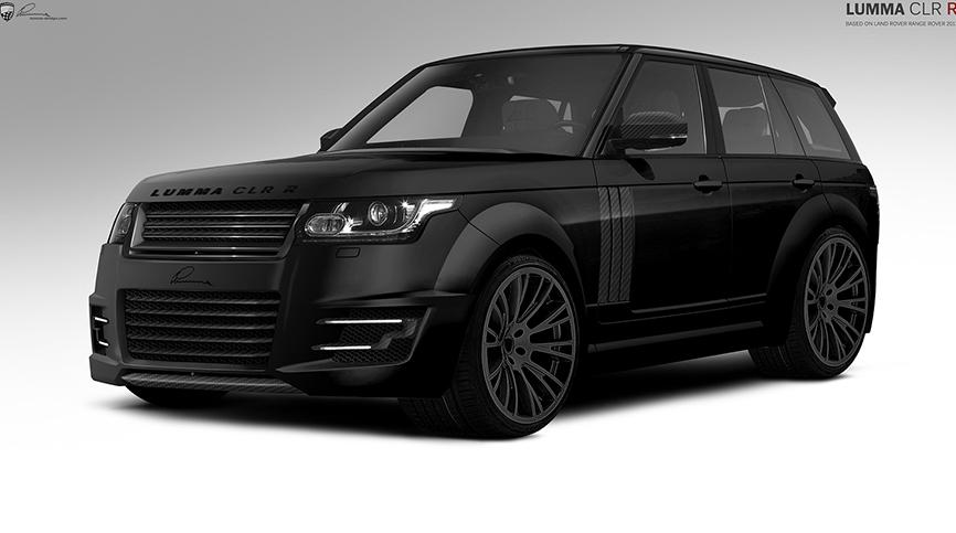 Чёрный  Range Rover вид спереди и сбоку