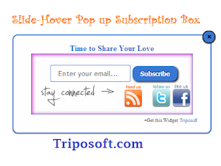 Scrolling Slide-Hover Pop up Subscription Box for Blogger