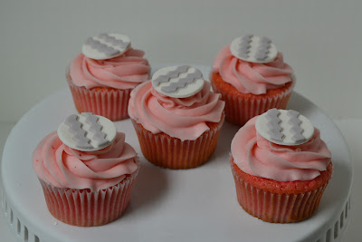 pink and gray strawberry cupcakes - sweet cakes by rebecca
