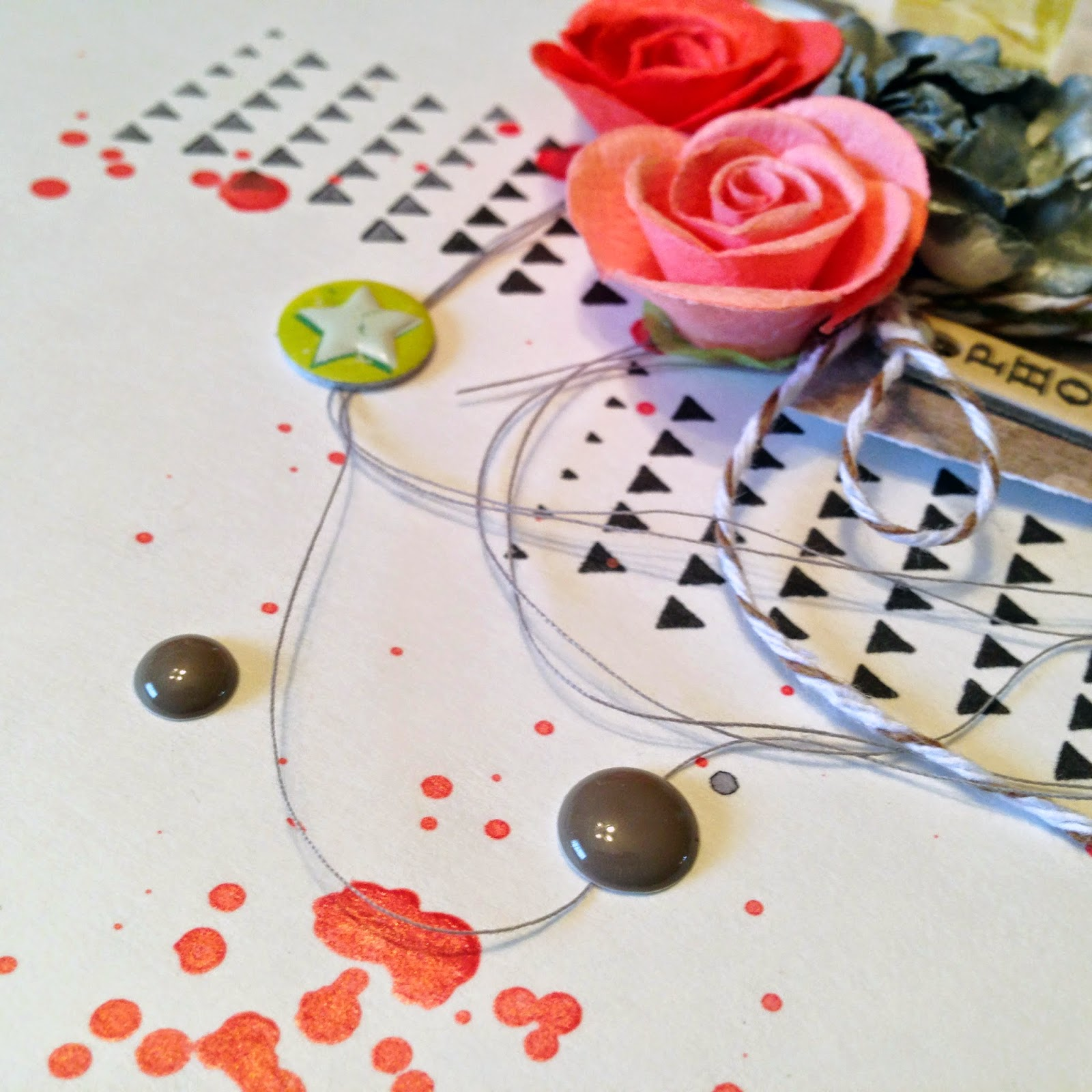 A Li'l Bit Feisty:  A scrapbook layout by Alice Scraps Wonderland | Triangle stamps, enamel dots and thread add texture and interest to the layout.