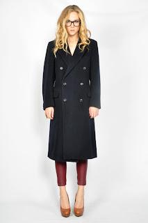 Vintage 1980's navy blue wool Yves Saint Laurent boyfriend coat with button front closure.