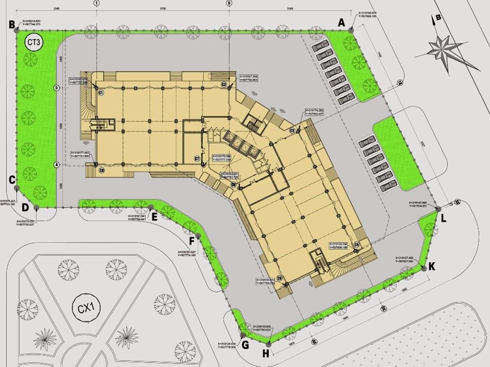 Thiết kế tầng thương mại Chung cư ct3 tây nam linh đàm