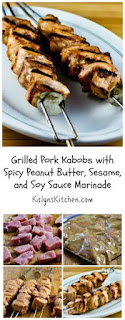 Grilled Pork Kabobs with Spicy Peanut Butter, Sesame, and Soy Sauce Marinade [from KalynsKitchen.com]
