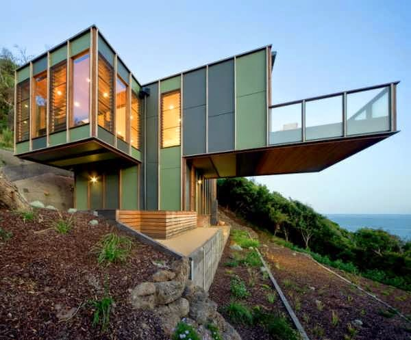 Victoria modular house design perched on a steep slope for Steep slope home designs