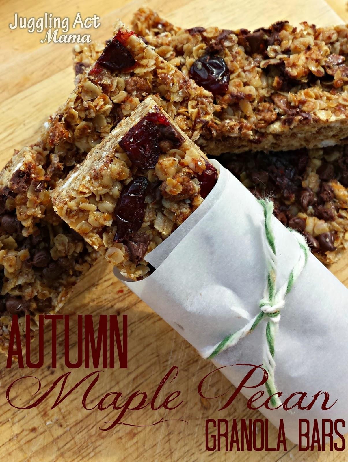 Autumn Maple Pecan Granola Bars - Juggling Act Mama