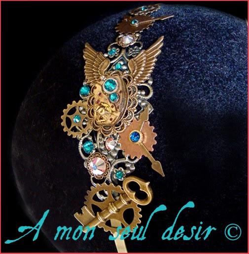 Serre tête engrenage rouages bijouterie steampunk headband headdress wheelwork clockwork jewellery