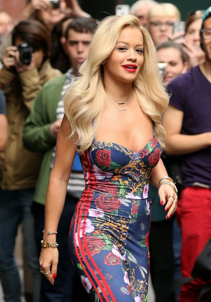 Rita Ora shows off curves in a floral Adidas jumpsuit in NY