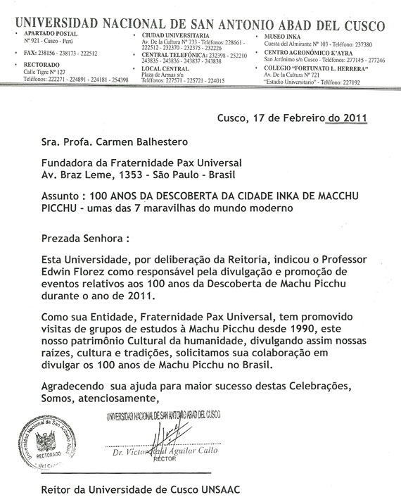 Carta da Universidade Cusco